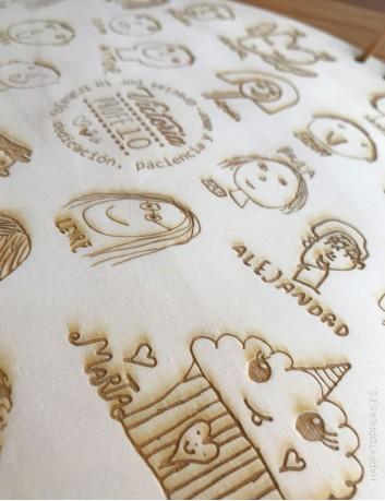 buscas un regalo original para profesores? este colgante de madera con dedicatoria y la firma y dibujo de cada niño es ideal
