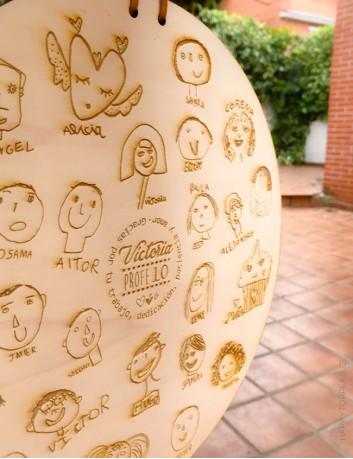dibujos de todos los niños y nombres de los alumnos para regalar al profesor de recuerdo.