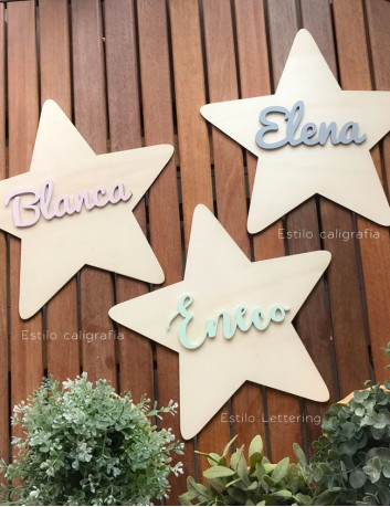 decoracion pared estrella de madera natural con nombre. Home decoration Happy.