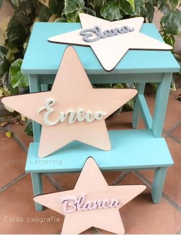decoración pared estrella de madera natural con nombre en madera pintado en tonos pastel, elige el color