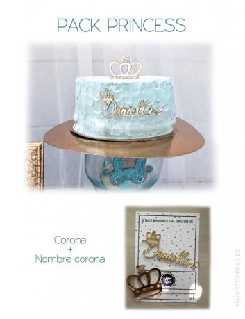 Idea para decorar una fiesta de princesas, con tu nombre y corona a juego para decorar la merienda