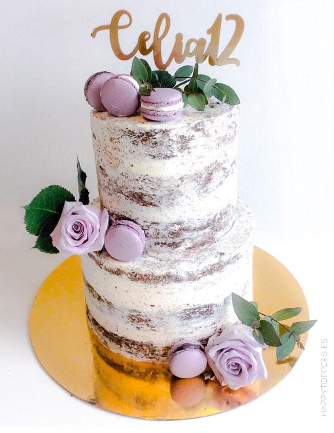 cake topper para adornar tartas personalizado con nombre y número de cumpleaños. Elige el color que más te guste.