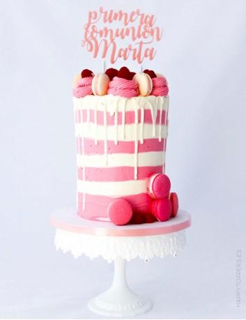 cake topper primera comunión con el nombre personalizado. Elige el color que más te guste