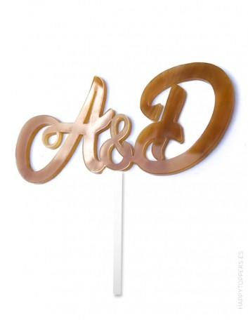 wedding cake toppers con iniciales de nombres en color carey edición especial limitada, elige más colores