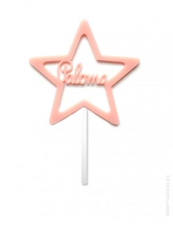 cake topper para decorar tartas con estrella y nombre personalizado. Cartel con nombre para tartas.