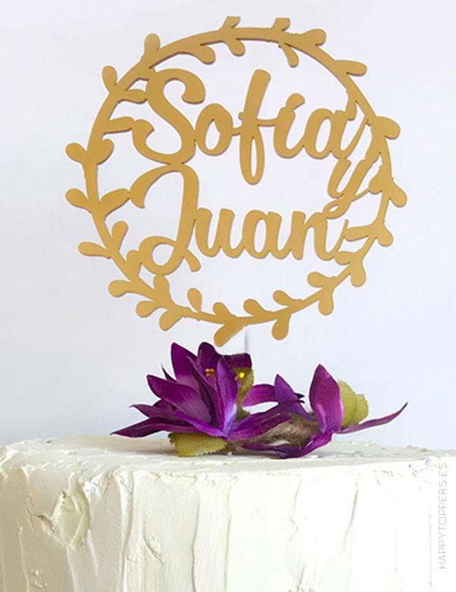 corona para adornar tarta boda con el nombre de los novios. A elegir entre muchos colores.
