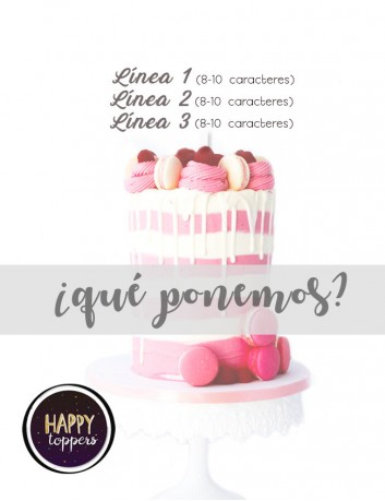 cake topper libre de personalización, puedes poner lo que quieras para tu adorno de la tarta.