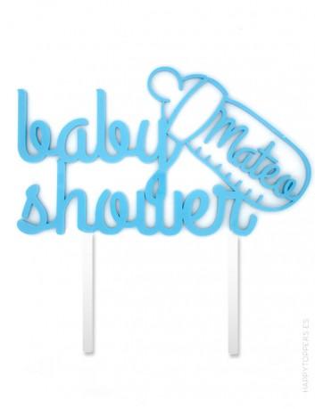 cake topper para fiestas de nacimiento de bebe con nombre. cartel babyshower para fiesta bebé. Disponible en muchos colores