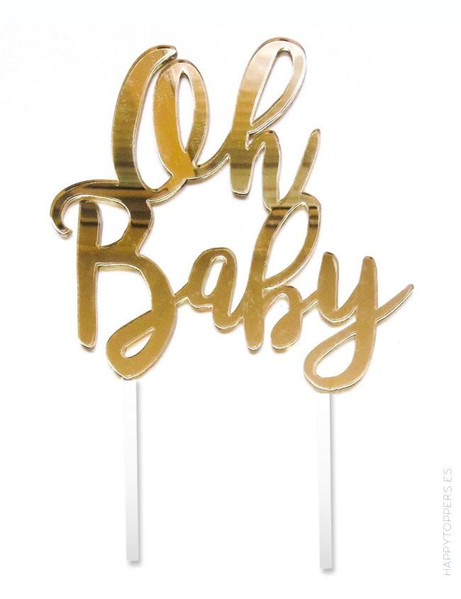 cake topper babyshower, decoración habitación bebé. Oro espejo, varios colores a elegir
