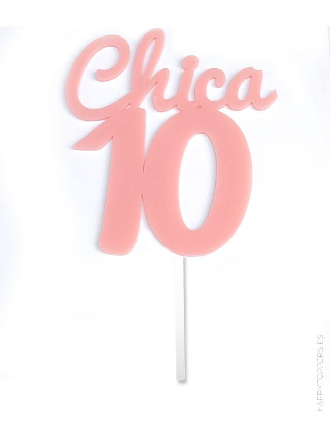 cake topper con frase chica 10 para decoración tartas. hecho en acrílico, disponible en muchos colores