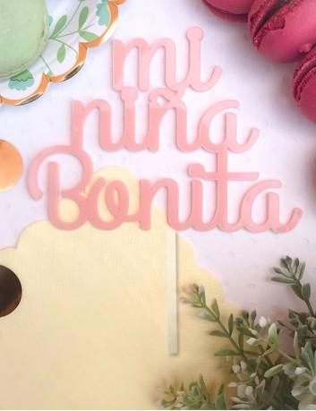 cake topper amor para adorno tarta en acrilico color rosa claro mi niña bonita