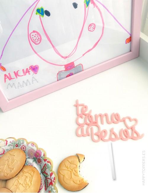 cake topper para tarta en acrilico color rosa claro te como a besos