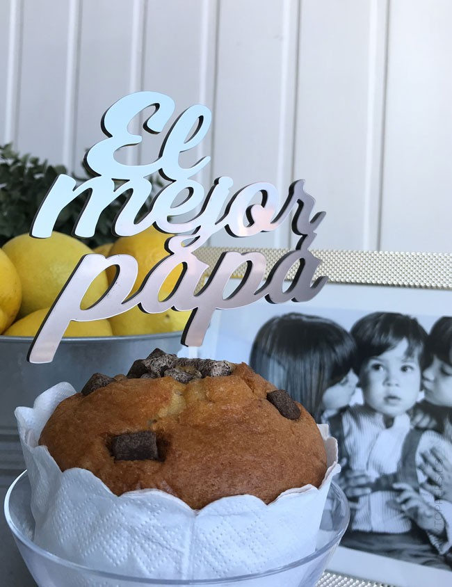 cake topper para tarta, bizcocho y cupcakes con frase el mejor papá. Regalo original cumpleaños papá.