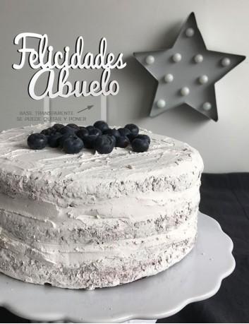 Cake topper felicidades abuelo. Regalo cumpleaños familia. cake topper para tarta felicidades