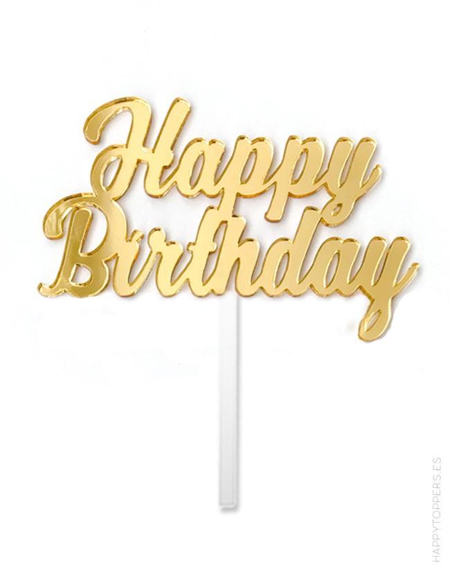 cake topper Happy birthday y cumpleaños feliz. Dorado. Regalo especial celebraciones. Cake topper para decorar pastel y cupcakes
