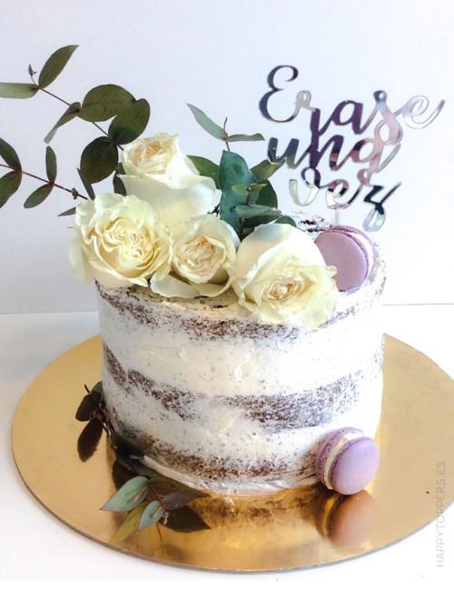 Cake topper pastel boda erase una vez. Decoracion bodas, cake topper personalizados. Fabricado en España. Wedding cake toppers.