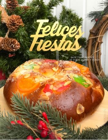cake topper Felices Fiestas. Personaliza tus postres y cupcakes. Adornos navideños personalizados para tartas