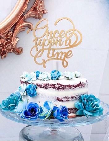 cake topper con mensaje Once upon a time para adornar tartas. hecho en acrílico, disponible en muchos colores