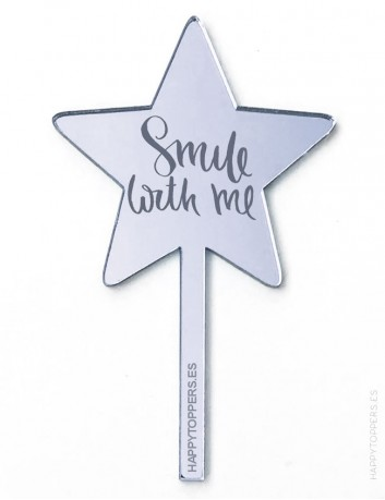cake topper espejo plata en forma de estrella smile with me, decora pastel con adorno