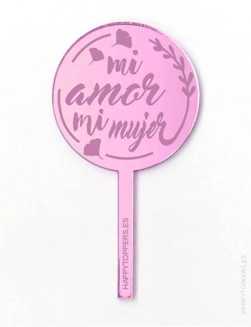 cake-topper-mini-mi -amor-mi mujer-decoracion-fiestas-rosa-espejo-varias-formas