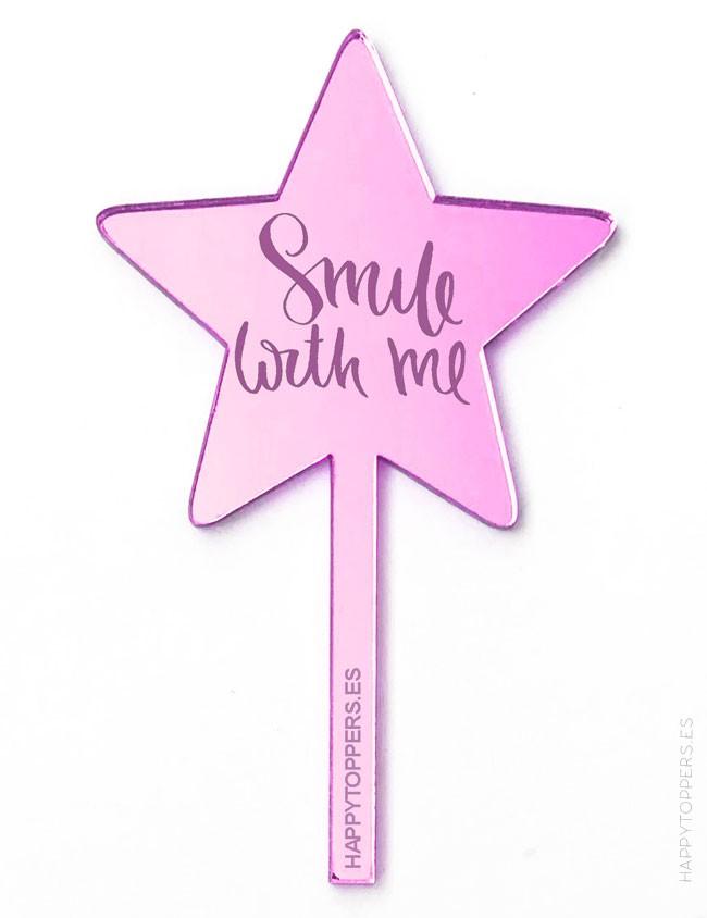 cake topper espejo rosa en forma de estrella smile with me, decora pastel con adorno