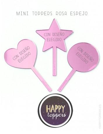 cake topper espejo rosa en forma de estrella, circulo, corazón, good luck, decora pastel con adorno