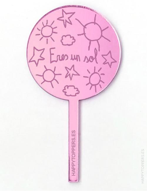 cake-topper-mini-eres-un-sol-decoracion-fiestas-rosa-espejo-varias-formas