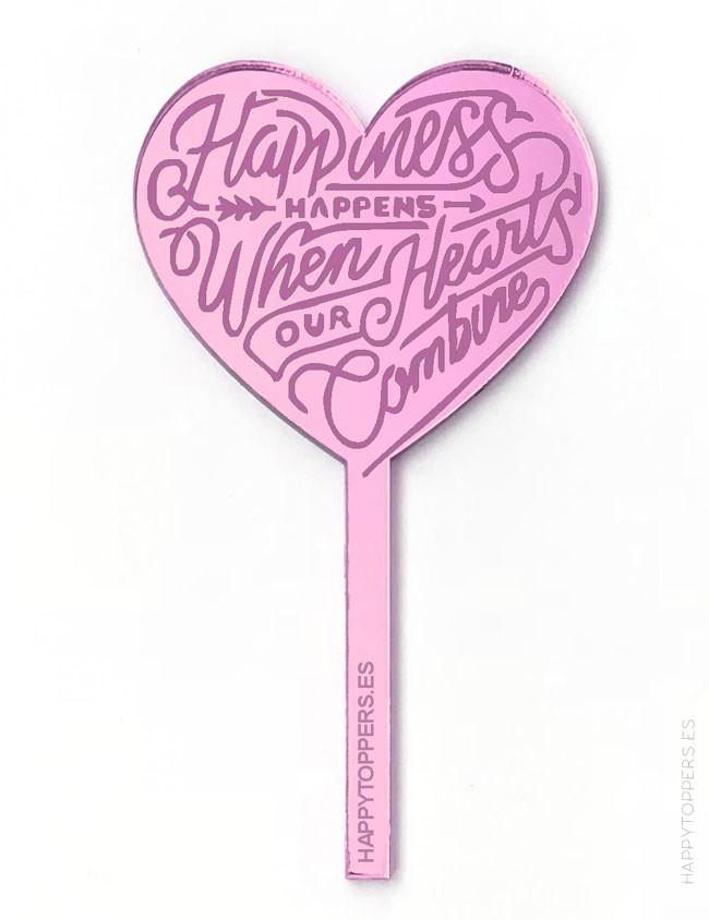 cake topper personalizados madrid mini corazón espejo rosa happiness