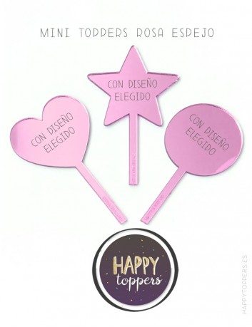 cake toppers personalizados en espejo rosa con mensaje y dedicatoria, grabada.