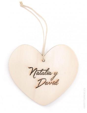 Adorno navidad de corazón de madera con los nombres personalizados, grabamos lo que quieras