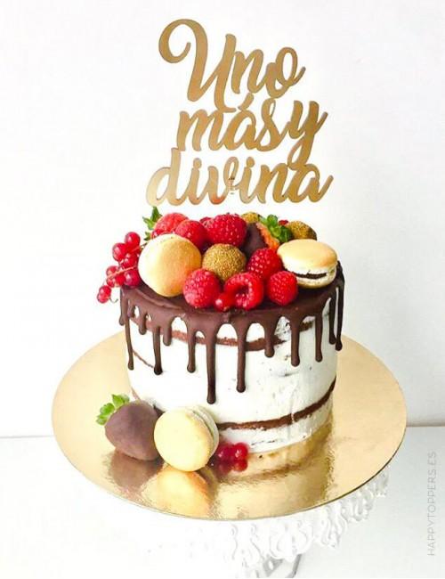 adorno para tarta de cumpleaños original con mensaje personalizado