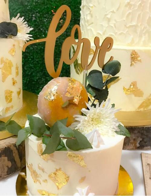 cake topper personalizado para pastel de boda con la palabra love regalo sorpresa para la novia oro mate
