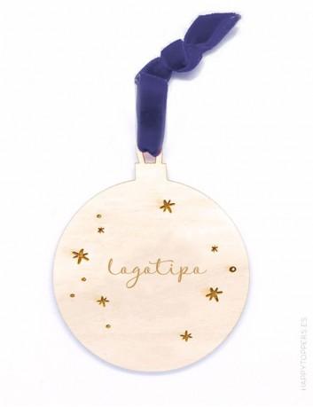 adorno de navidad personalizado con logotipo de empresa en forma de bola, madera, cinta en color marino