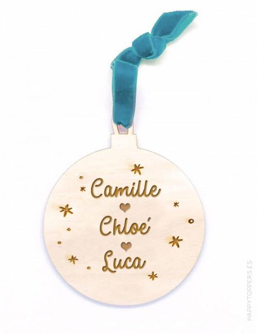 adorno de navidad personalizado con frases, dedicatorias, nombres..., en forma de bola. Cinta de terciopelo verde agua