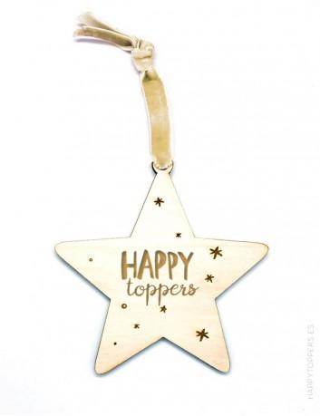 adorno de navidad personalizado con logotipo de empresa en forma de estrella de madera. Cinta de terciopelo beige dorado.