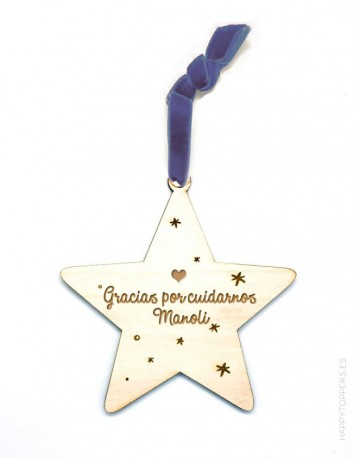 adorno de navidad personalizado con frases, dedicatorias, nombres..., en forma de estrella. Cinta de terciopelo azul marino