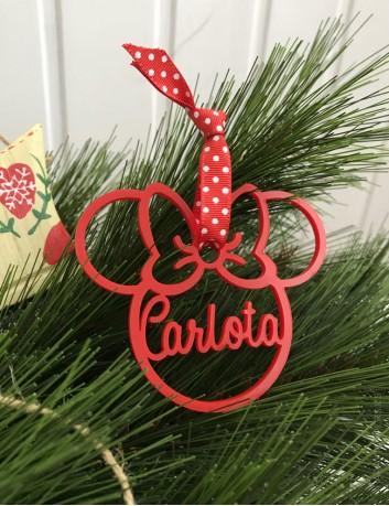 Bola de Navidad personalizada con tu nombre en forma de minnie mouse, para que cuelgues del árbol tu adorno tipo disney