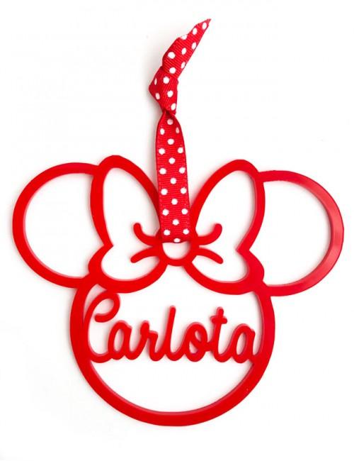 adorno de navidad personalizado con tu nombre en forma de minnie mouse. Regalo original Navidad