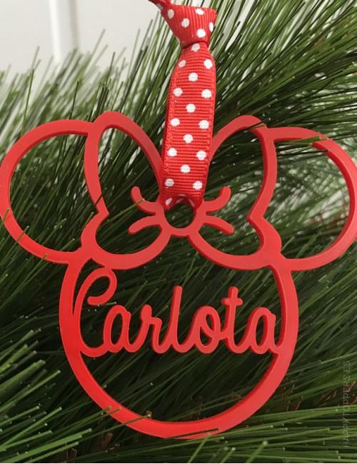 regalo original para navidad adorno con forma de minnie y con tu nombre personalizado