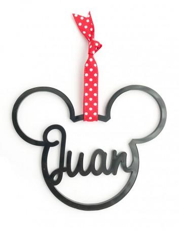 adorno de navidad personalizado con tu nombre en forma de mickey mouse. Regalo original Navidad