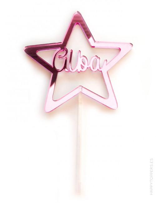 cake topper para decorar tartas con estrella y nombre personalizado. Cartel con nombre para tartas, espejo rosa