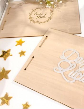 Portada y contraportada en madera para hacer un álbum de fotos o libro de firmas.