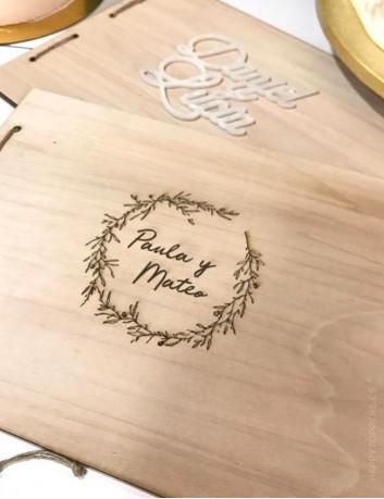 álbum de fotos de madera grabado con dedicatoria, regalo boda, libro de  recuerdos boda, comuniones