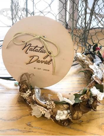 porta alianza boda con el nombre de los novios y la fecha, lo hacemos a tu gusto, bodas con encanto