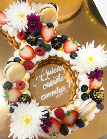wedding cake topper para tarta de novios con una frase corta, quieres casarte conmigo?