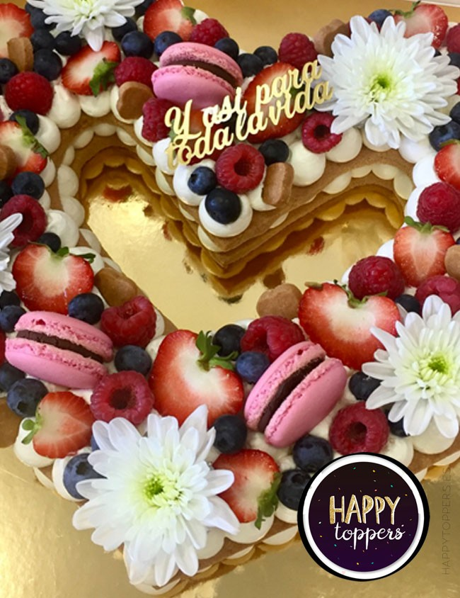 wedding cake topper para tarta de novios con una frase corta, elige el color que más te guste
