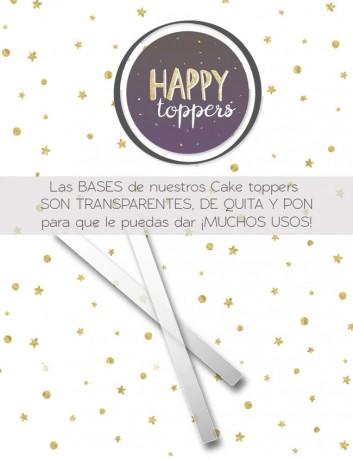 cake toppers muy trendy para adornar tartas con los palos transparentes y desmontables para que lo reutilices