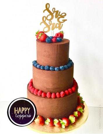 wedding cake toppers con las palabras Sr. and Sra. en color oro mate, elige más colores. Bodas con encanto.