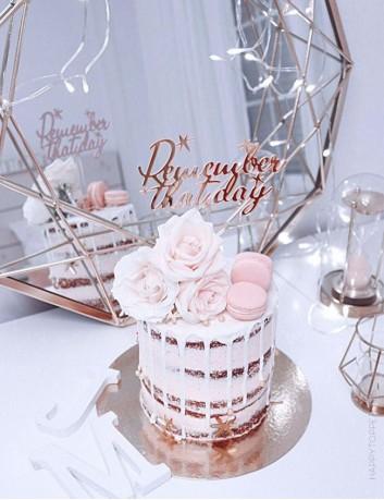 adorno para tartas o pastel de cumpleaños, hacemos tus adornos personalizados con la frase que quieras. Rosa espejo.