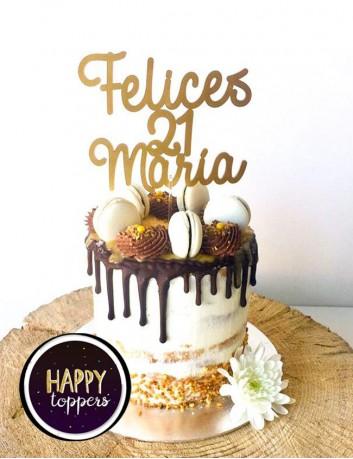 cake topper para adornar la tarta de cumpleaños personalizado con el nombre y los años, oro mate
